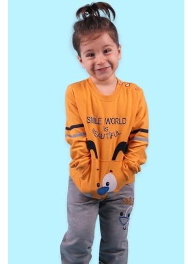 Breeze Erkek Çocuk Eşofman Takımı Kanguru Cepli Nakışlı Hardal Sarı (1-3 Yaş) Hardal